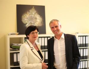 Mit Ministerpräsidentin Christine Lieberknecht im Büro des OB-Kandidaten.